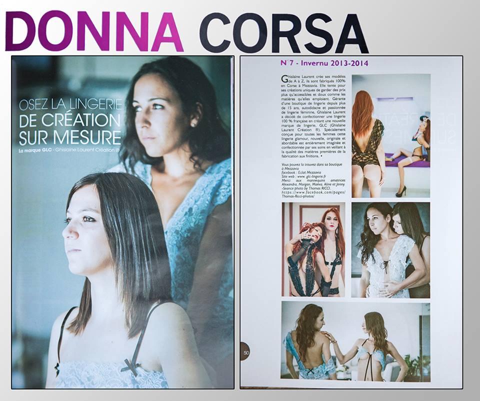 Article de la marque GLC dans le magazine DONNA CORSA